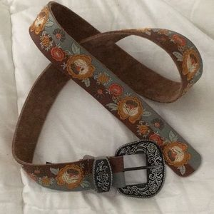 Free People western buckle belt embroidered NWT